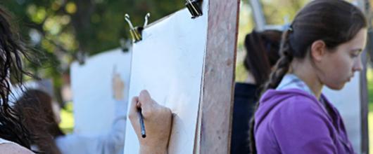 Students drawing at StFX
